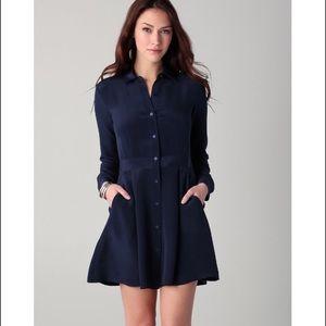 Theory soream cotton dress long sleeve pockets